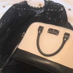 Kate Spade Black and Cream Crossbody/Satchel